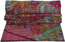 New Indian Cotton Kantha Quilt Screen Print Bed Cover Bedspread Coverlet Paisley