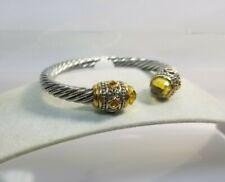 SALE Designer Inspired Cable Cuff Bracelet Champagne Crystal & Multi Jewel Ends