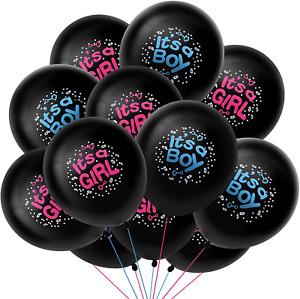 30 Pcs Gender Reveal Balloon Baby Boy Girl 12 Inch Black Latex Balloons