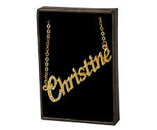 "Gold Plated - Birthday Valentines Gift Name Necklace ""Christine"" - 18ct Yellow"