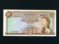 Jersey:P-7,10 Shillings,1963 * Queen Elizabeth  II * Low Serial A000087 * UNC *