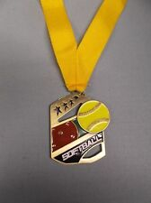 color enameled Softball gold medal with yellow neck drape trophy