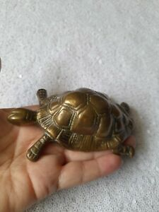 solid brass tortoise animal made in England 40s 50s vintage  kitsch ornament