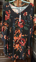 Womens Dearcase Long Sleeve Floral Shift Dress Size Large NWT