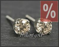 Diamant Brillant Ohrstecker mit 0,19 ct; champagner, 585 Gold Ohrringe Weißgold