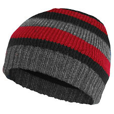 low priced 67b76 c7899 MENS WINTER BEANIE HAT WARM KNITTED STRIPED THINSULATE FLEECE LINED OUTDOOR  WORK
