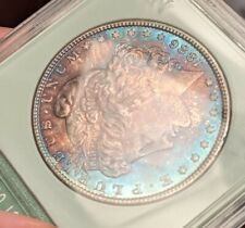 1886 Morgan silver dollar slabbed uncirculated 2 sided toned classic red/blue