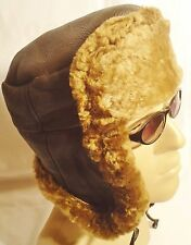 NEW men's Sheepskin Russian Trapper Bomber Pilot Aviator Hat Real Leather S-M