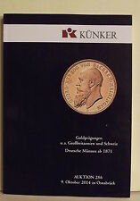 CATALOGO NUNISMATICO KUNKER AUCTION 256-DEL 9 OTTOBRE 2014-IN OSNABRUCK