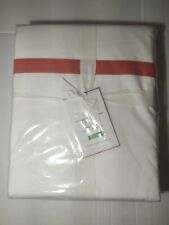 New Pottery Barn Morgan Cal King Duvet Cover White Coral Stripe Organic Cotton
