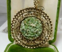 "Vintage Green Jade Pebble Stone Gold tone Filigree Pendant 23"" Chain Necklace"