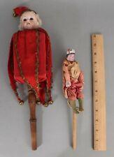 Antique Bisque A&M Marotte Musical Stick Doll & Mechanical Paper Mache Doll NR