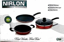 Nirlon Non-Stick Cookware set 2.6 MM 3 Pcs Tawa+Pan+ Kadhai Combo Offer