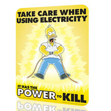 Metal Signs The Simpson Take care when using electricity Poster Decor Wall Art
