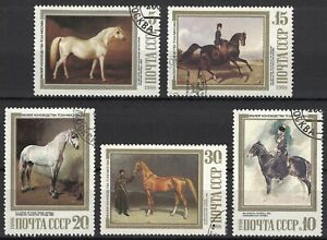 RUSSIA,USSR:1988 SC#5694-98 Used CTO Paintings in the Timiriazev Equestrian Muse