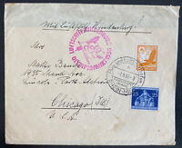 1936 Frankfurt Germany Hindenberg Zeppelin LZ 129 Olympics cover To Chicago Usa