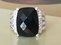 Designer Inspired 925 Sterling Silver 16x12mm Black Onyx & Diamond Wheaton Ring