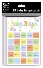 15 PACK BABY SHOWER PARTY BINGO GAME UNISEX NEUTRAL GIRL BOY FUN 15 PLAYERS CARD