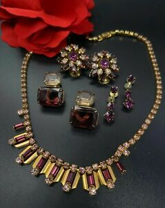 Details about  /Sweet Vintage Sparkly Screw Back Faux Ruby Opal AB Rhinestone Earring LOT