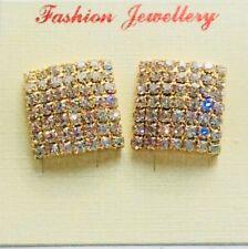 Sparkly Gold Square Diamante Crystal Diamond Rhinestone Earrings