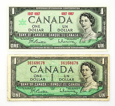 2 different Canada paper money $1 1967 xf-au & $1 1954 vg-tiny tear and staining