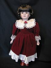 "16"" Porcelain Victorian Doll – Burgundy Christmas Dress – Braided Hair - SWEET!!"