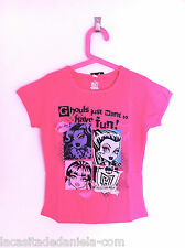 MONSTER HIGH Camiseta manga corta gris, cereza o rosa para niña / T-shirt