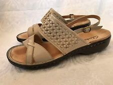 Clarks Casual Sling Back Leather Comfort Sandals Low Heel Women's Size 10 M
