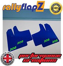 Rally style Mudflaps PEUGEOT 206 Mud Flaps (3mm PVC) rallyflapZ Blue Logo Green