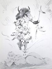 Vintage Frank Frazetta Untitled Viking Native Spear Hunter Nude GGA Fantasy
