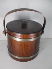 Putney Basketville Vermont Wood Planter-Ice Bucket-Cookie Jar W/Lid & Handle USA