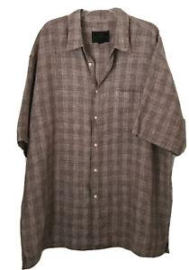 Jos A Bank Reserve Men's XXL 100% Linen Brown White Plaid Button Up Pocket Shirt