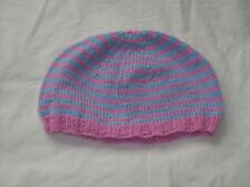Ladies Hand Knit Pink & Blue Beanie Hat - Large - BNWOT