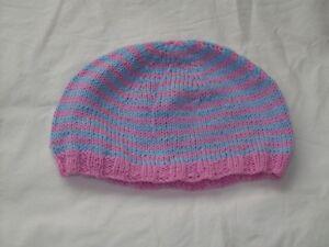 Ladies Hand Knit Pink & Blue Beanie Hat - Large - BNWOT