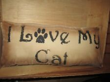 Primitive Stenciled Pillow - I love my cat