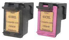 HP 61XL Black CH563WA+Color CH564W Reman Ink Cart 33% More Ink Deskjet:1000,1050
