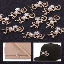 10pcs Diamante Rhineston Crystal Pearl Embellishment Love Wedding DIY Craft Gold