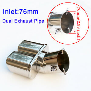 Dual Outlet Universal Car Exhaust Pipe Tail Tip Rear Muffler Throat 76mm 3 Inch