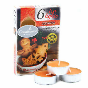 3 Sets of 6 Cookies Scented Wax Tealights 4 Hours Burning Time New UK Stock