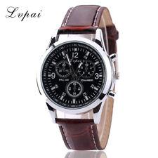 003b71c78079 Lujo Reloj de Hombre Acero Inoxidable Cuero Negro Correa Marrón Analogico