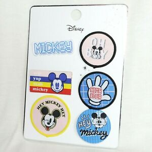 DISNEY Patches 6er SET * MICKEY MOUSE * pastell Farben * Anstecknadel Aufnäher