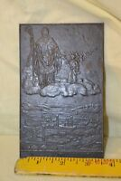 Bronze Plated Cast Iron Plaque of Bishop & Boy with Christmas Tree. K. Roth 1929