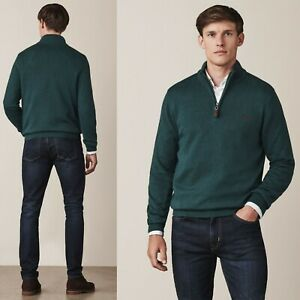 Mens Crew Clothing Classic Knit Jumper Half Zip Pull Over Top XL RRP £67.00