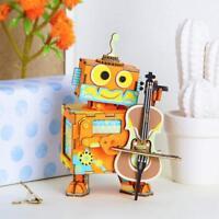 ROBOTIME 3D Wooden Puzzle DIY Music Box Kit Robot Model Kits for Children Teens