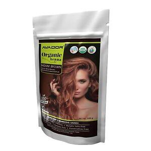 AVADOR Organic Henna Medium Brown Hair Color Powder Chemical Free Henna 100 gm