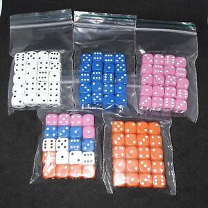 20× 10mm d6 spot dice various colours/plus pick your custom sets