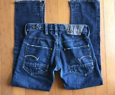 G STAR RAW ~ Denim Mens Button Fly Jeans Size 31 x 32 Dark w/ Whiskering Wash