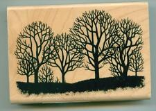 Inkadinkado rubber stamp Fall Trees Silhouette wood mounted
