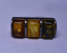 VINTAGE 1980s STERLING SILVER TRICOLOR THREE STONE AMBER RING SIZE 8.25