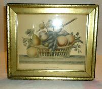Vintage BORGHESE Framed Print Reprint Still Life Corbeille De Fruits #2